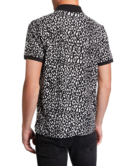 Image 2 of 2: Ovadia Men's Leopard-Pattern Pique Polo Shirt