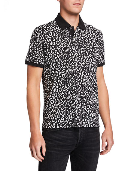 Image 1 of 2: Ovadia Men's Leopard-Pattern Pique Polo Shirt