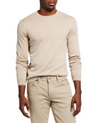 Neiman Marcus Cashmere Collection Men's Solid Long-Sleeve Crew