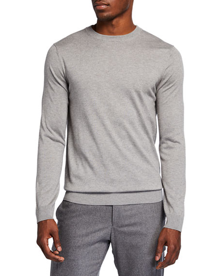 Neiman Marcus Cashmere Collection Men's Solid Long-Sleeve Crew Sweater