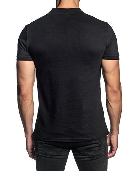 Image 2 of 2: Jared Lang Men's Stretch-Knit Polo Shirt w/ Contrast Placket