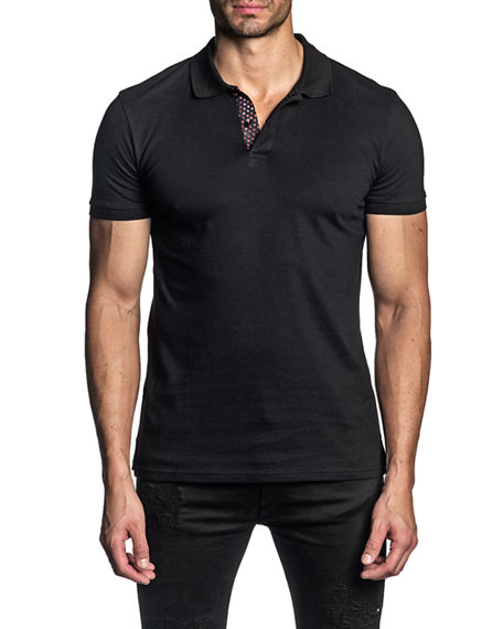 Image 1 of 2: Jared Lang Men's Stretch-Knit Polo Shirt w/ Contrast Placket