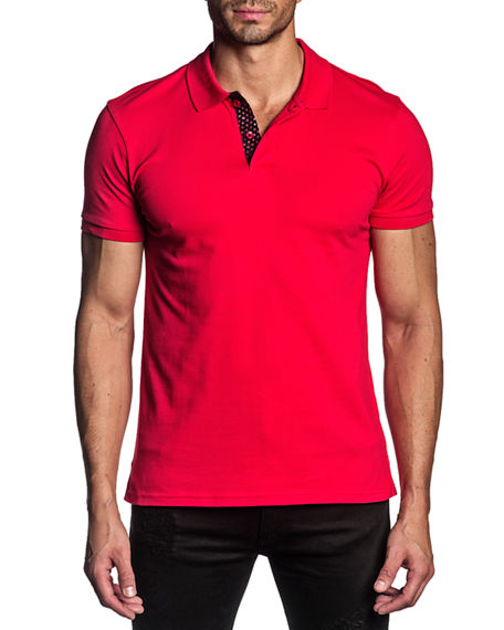 Jared Lang Men's Stretch-Knit Polo Shirt w/ Contrast Placket