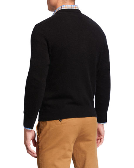 Image 2 of 2: Neiman Marcus Cashmere Collection Men's Cloud Cashmere V-Neck Sweater