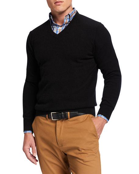 Image 1 of 2: Neiman Marcus Cashmere Collection Men's Cloud Cashmere V-Neck Sweater