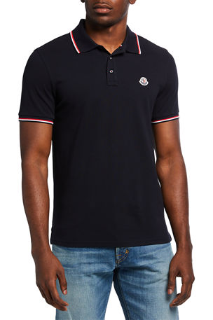 Moncler Men's Classic Tipped Polo Shirt w/ Logo Patch