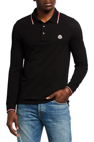 Moncler Men's Tipped Long-Sleeve Polo Shirt