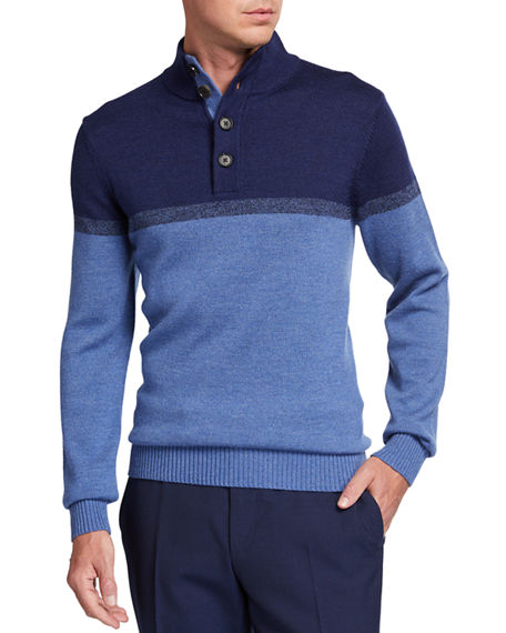 Neiman Marcus Men's Colorblock Button-Top Pullover Sweater