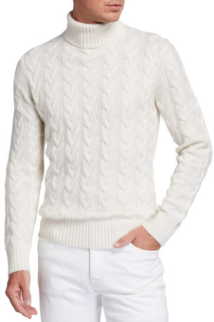 Neiman Marcus Men's Chunky Cable-Knit Turtleneck Sweater