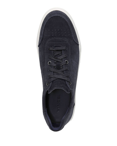 Image 3 of 4: Vince Men's Barnett Perforated Suede Low-Top Sneakers