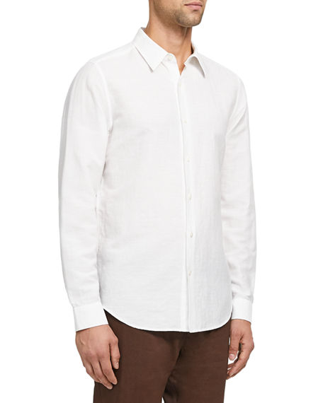 Image 2 of 3: Theory Men's Irving Linen/Cotton Twill Sport Shirt