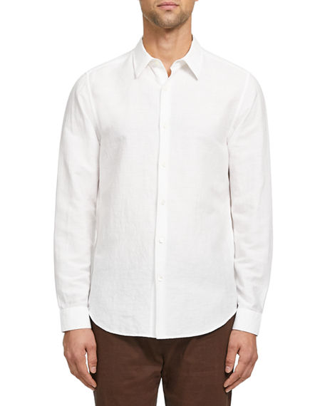 Image 1 of 3: Theory Men's Irving Linen/Cotton Twill Sport Shirt