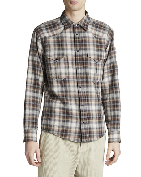 Isabel Marant Men's Pitt Plaid Flannel Western Shirt