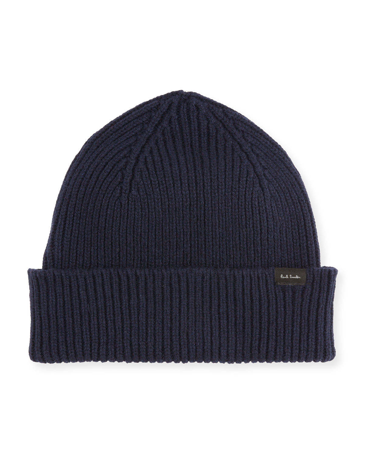 Men's Ribbed Cashmere-Wool Beanie Hat