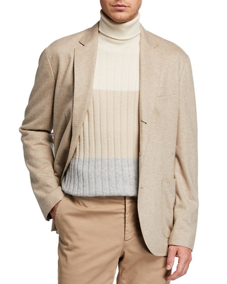 Image 1 of 4: Brunello Cucinelli Men's Cashmere Jersey Unlined Jacket