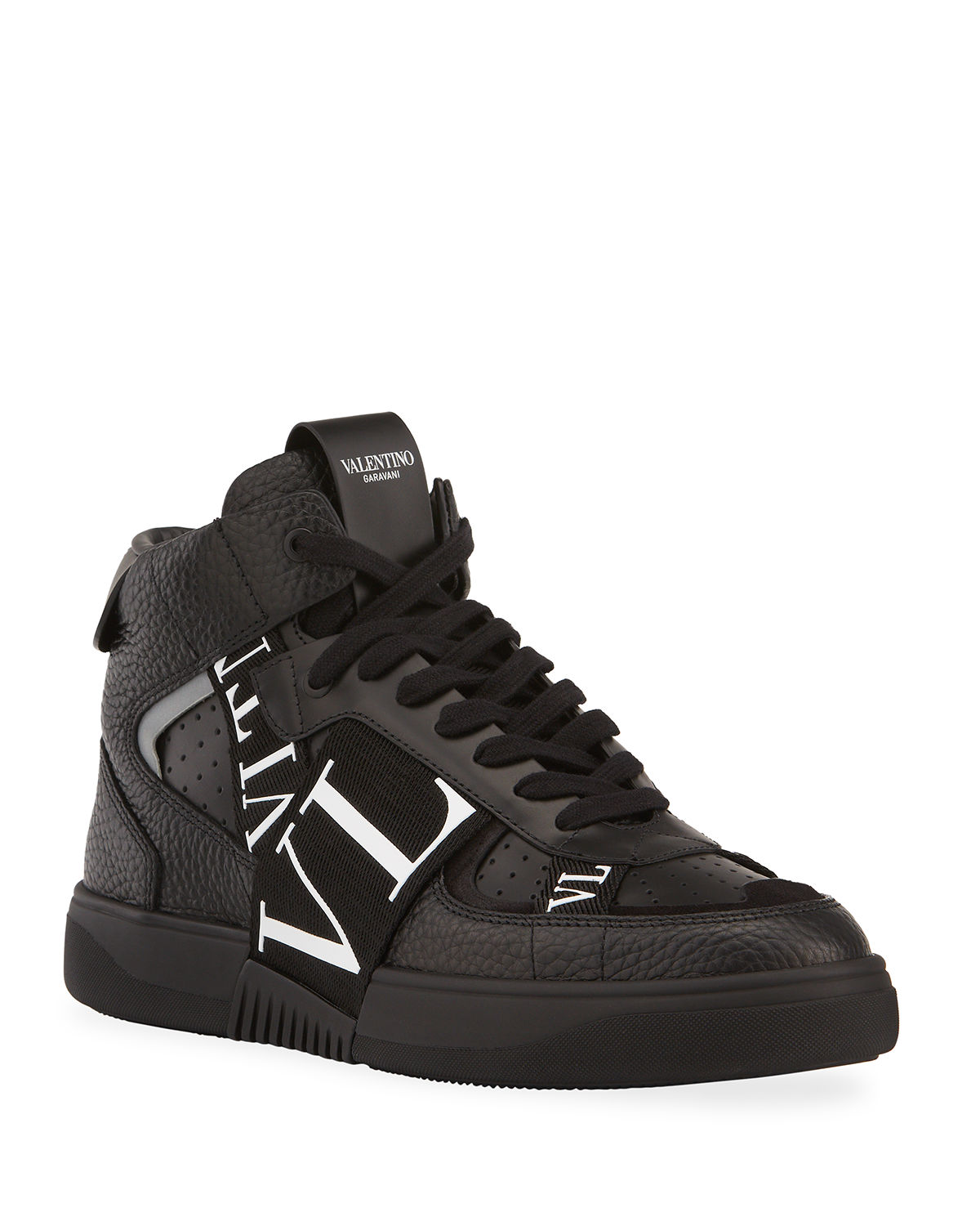 Valentino Leathers MEN'S VL7 WEB LOGO HIGH-TOP SNEAKERS