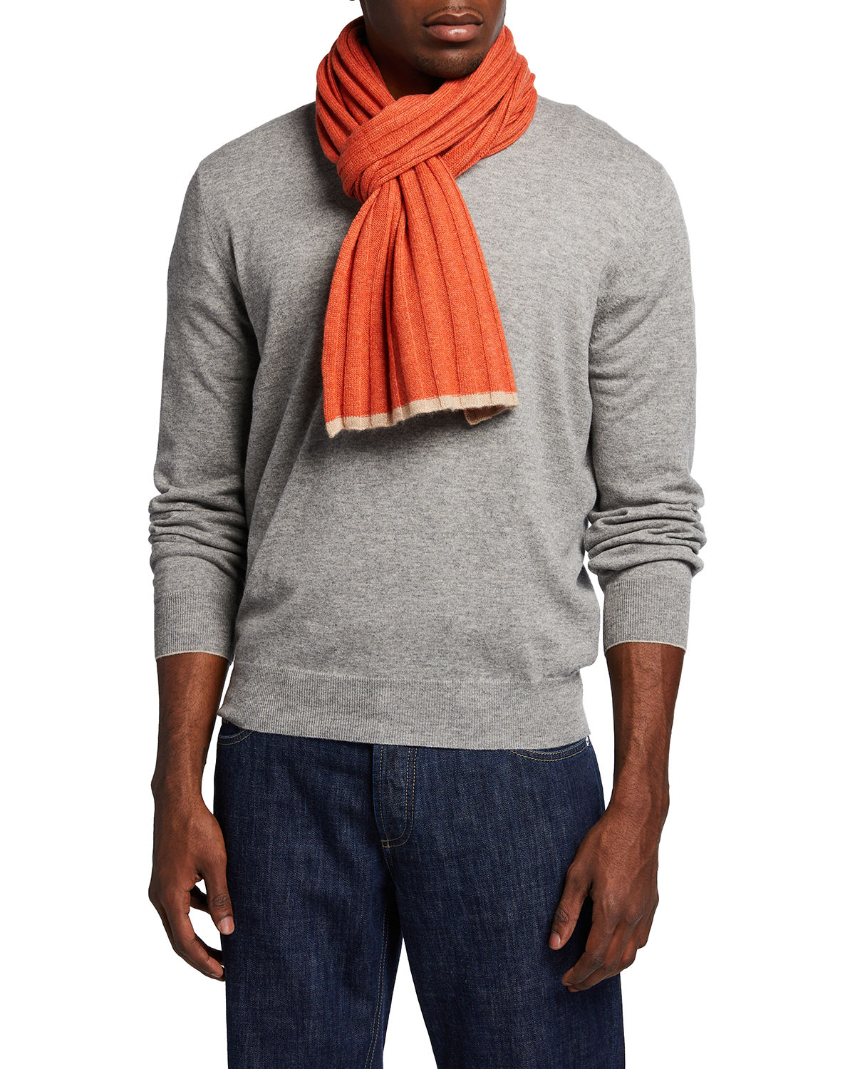 Men's Tipped Rib-Knit Cashmere Scarf