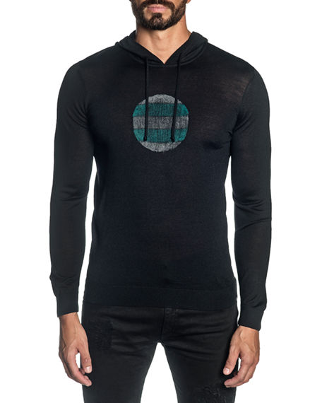 Jared Lang Men's Knit Graphic Pullover Hoodie