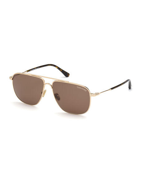 TOM FORD Men's Len Metal Aviator Sunglasses