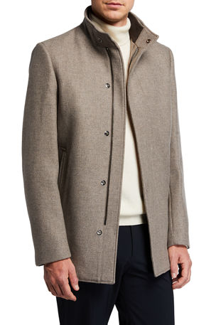 Theory Men's Clarence Traceable Melton Car Coat