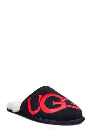 UGG Men's Scuff Logo Suede/Sheepskin Slippers