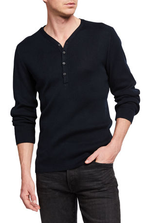 John Varvatos Star USA Men's Adrian Ribbed V-Neck Henley Shirt