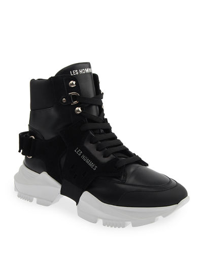 Men's Mix-Leather Chunky High-Top Sneakers w/ Grip-Strap