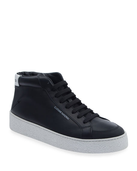 Costume National Men's Two-Tone Leather High-Top Sneakers