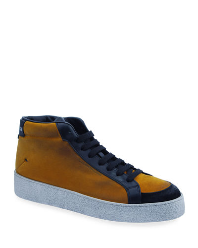 Men's Two-Tone Leather High-Top Sneakers