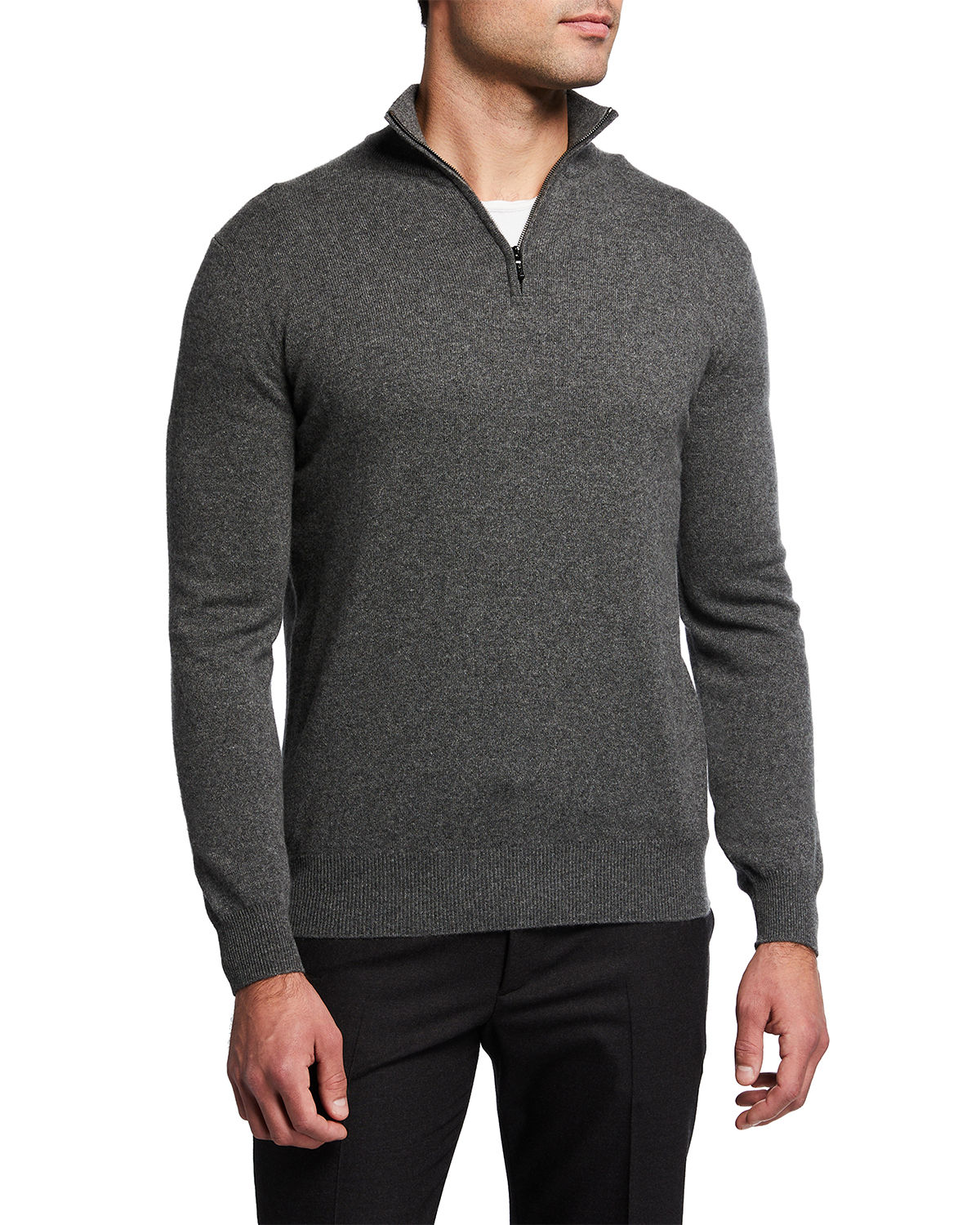 Loro Piana MEN'S CLASSIC BABY CASHMERE MEZZOCOLLO SWEATER
