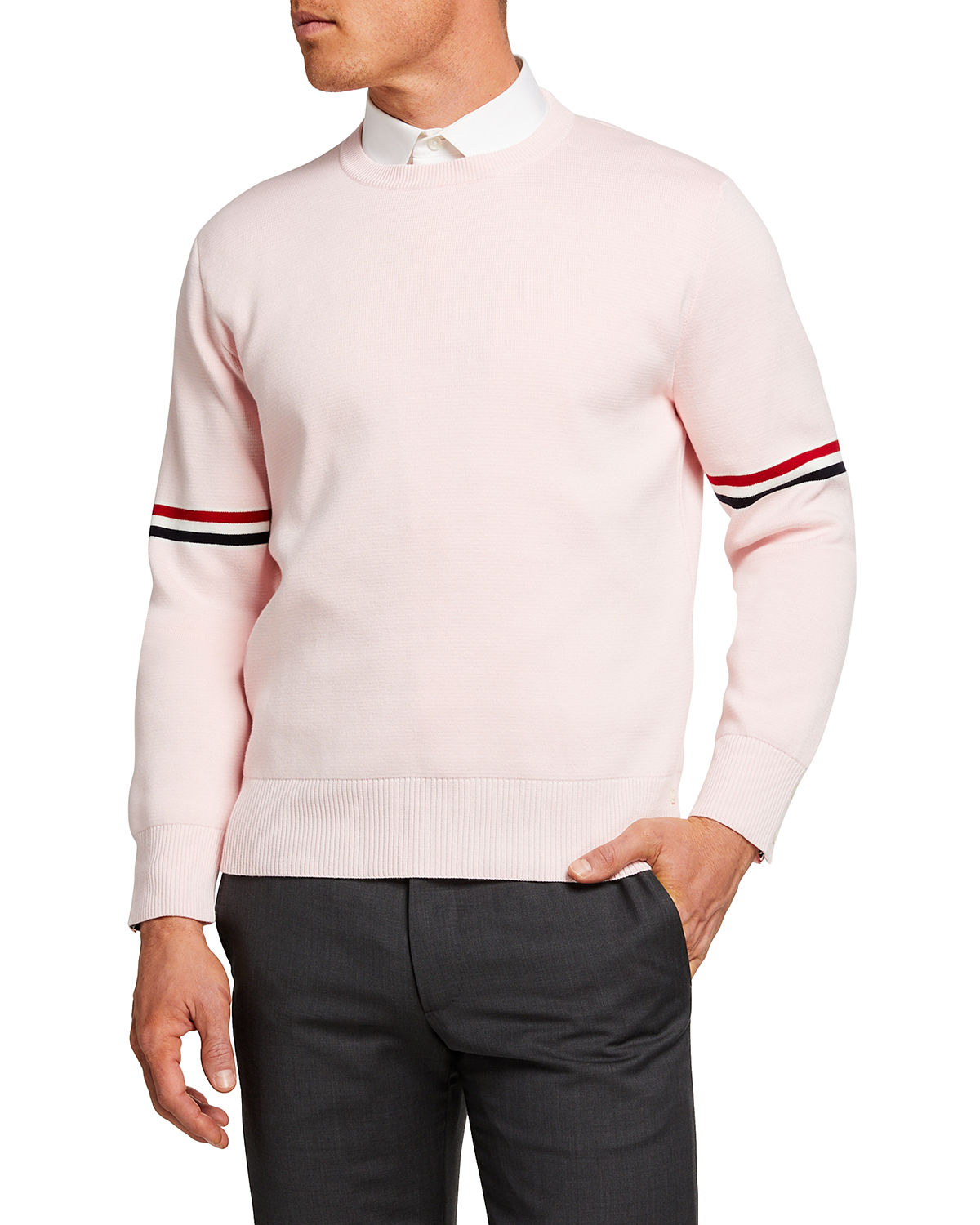 Thom Browne MEN'S CREW SWEATER WITH RIBBON ARM BANDS