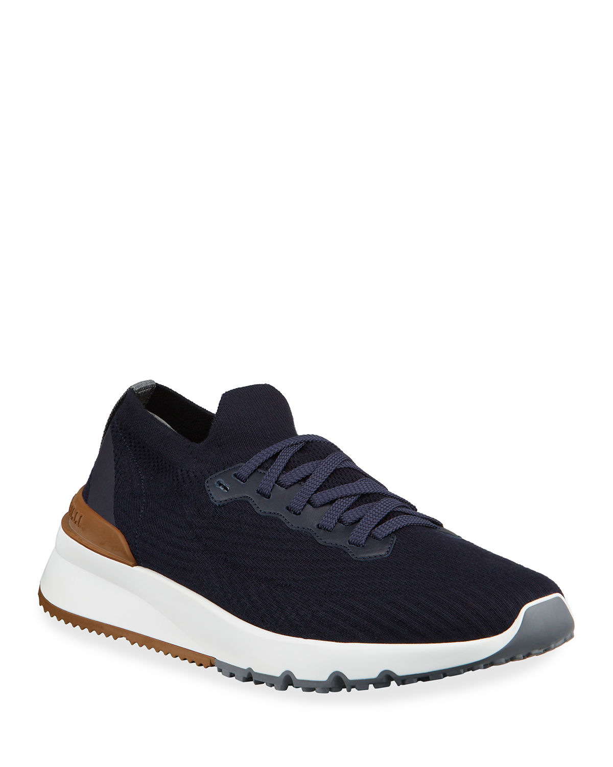 Brunello Cucinelli Leathers MEN'S ACTIVE KNIT TRAINER SNEAKERS
