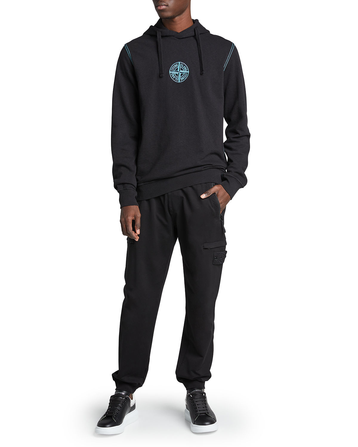 Stone Island MEN'S PULLOVER HOODIE WITH CHEST LOGO