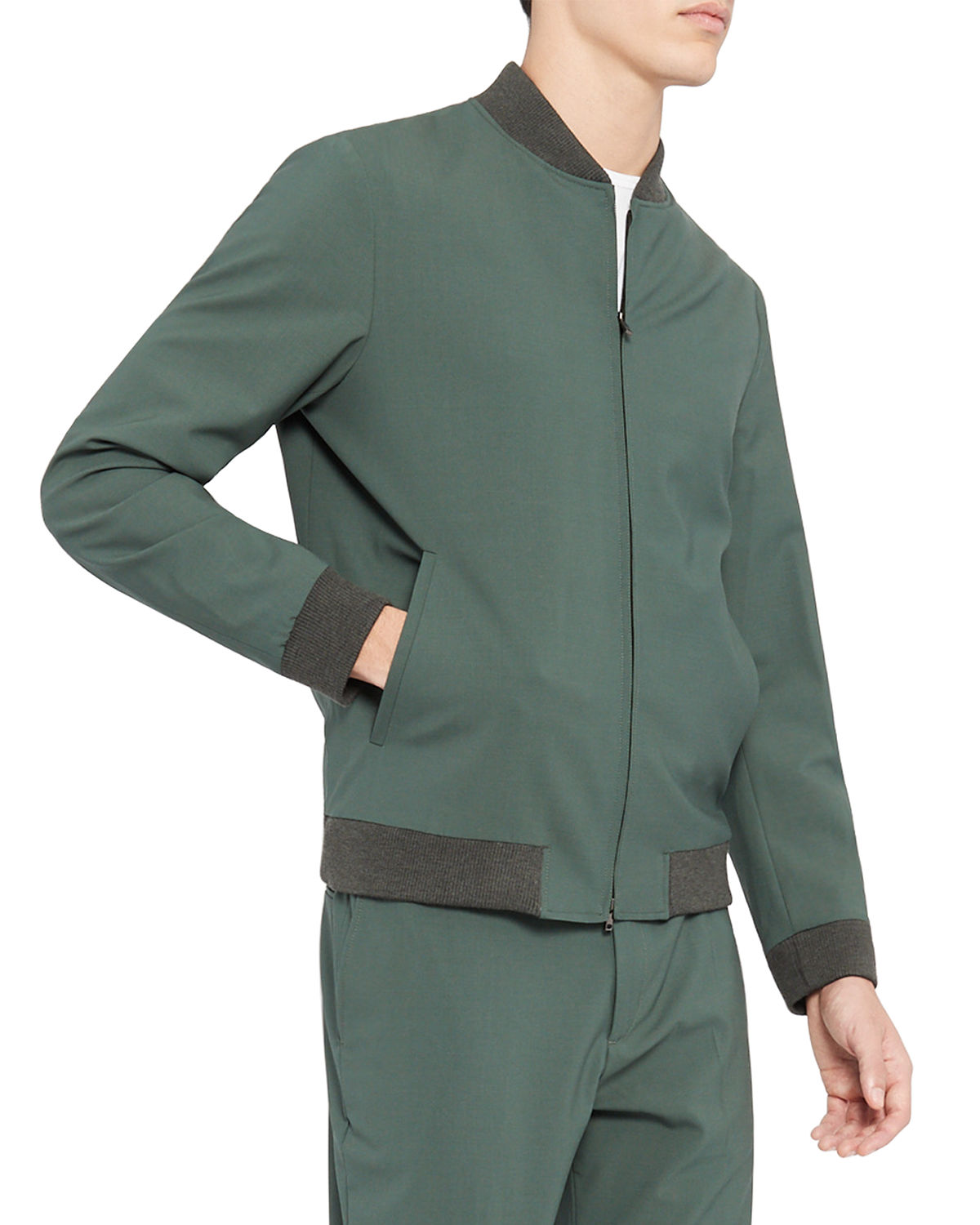 Theory MEN'S AIDEN SOLID WOOL BOMBER JACKET