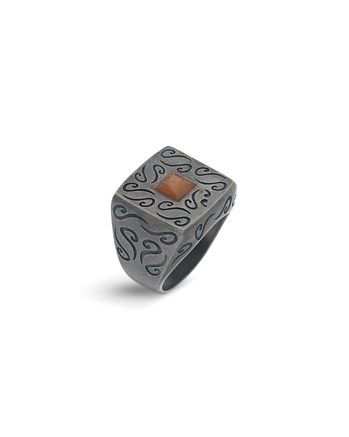 Men's Ara Oxidized Silver Ring with Stone