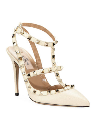 Rockstud Leather 100Mm Pump in Ivory Patent