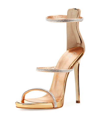 Giuseppe Zanotti Jeweled Three-Strap 110mm Sandal and Matching