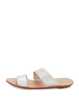 Image 2 of 3: Clem Flat Leather Slide Sandal