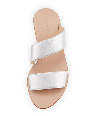 Image 3 of 3: Clem Flat Leather Slide Sandal