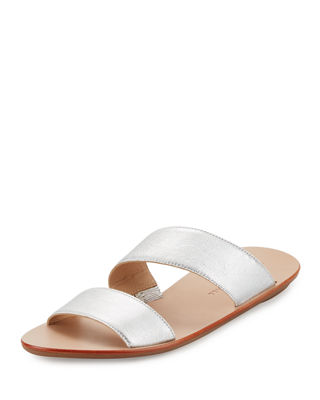 Image 1 of 3: Clem Flat Leather Slide Sandal