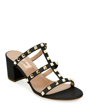 a9efbb771 Valentino Garavani Rockstud Caged 60mm Slide Sandals