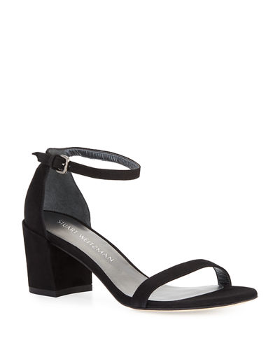 Simple Suede Chunky-Heel City Sandals