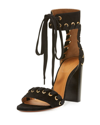 Chloe Suede Whipstitch Ankle-Tie Sandal