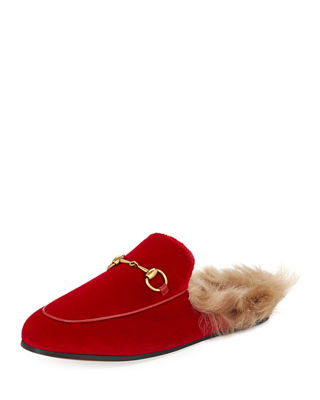 Princetown Horsebit-Detailed Shearling-Lined Velvet Slippers, Red