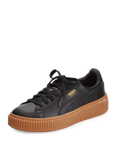 Basket Leather Platform Low-Top Sneaker