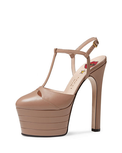 Gucci Angel Leather Platform Pump