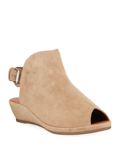 Lyla Suede Peep-Toe Wedge Sandals