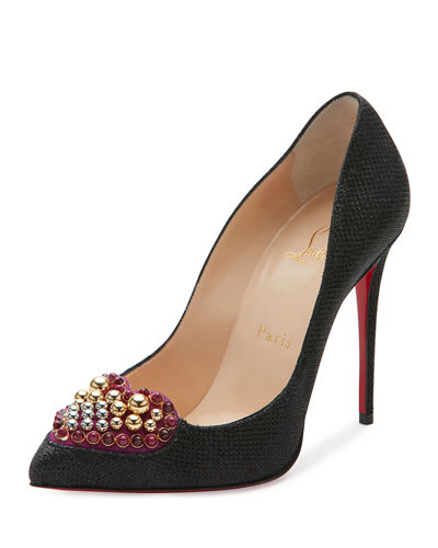 Coralita Crystal-Heart 100mm Red Sole Pump