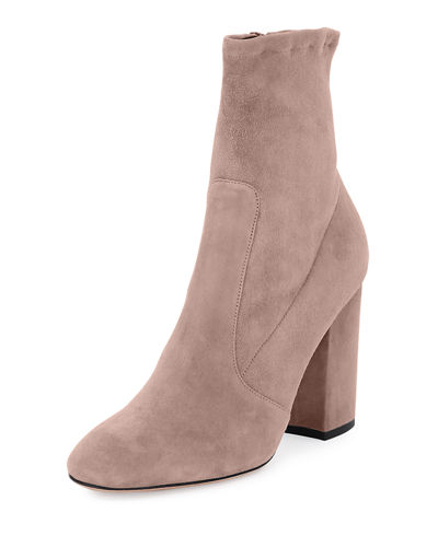 Stretch-Suede Ankle Bootie