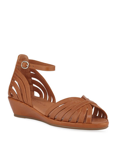 Leah Leather Demi-Wedge Sandals, Medium Brown